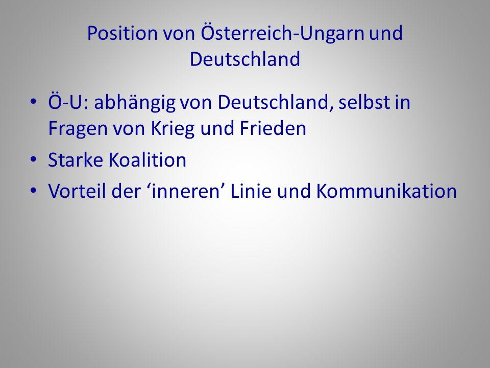 Position von Österreich-Ungarn und Deutschland Ö-U: abhängig von Deutschland, selbst in Fragen von Krieg und Frieden Starke Koalition Vorteil der inne