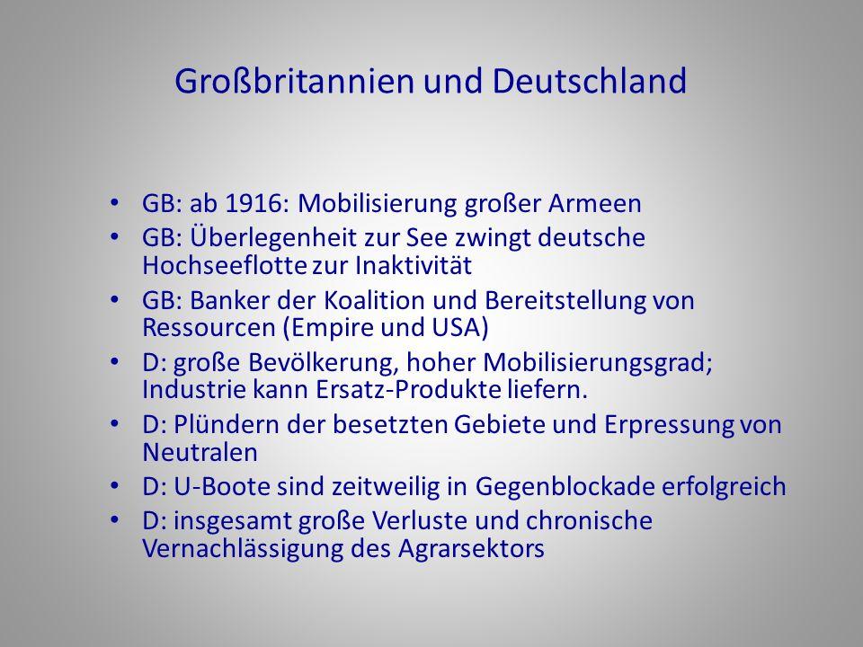 Großbritannien und Deutschland GB: ab 1916: Mobilisierung großer Armeen GB: Überlegenheit zur See zwingt deutsche Hochseeflotte zur Inaktivität GB: Ba