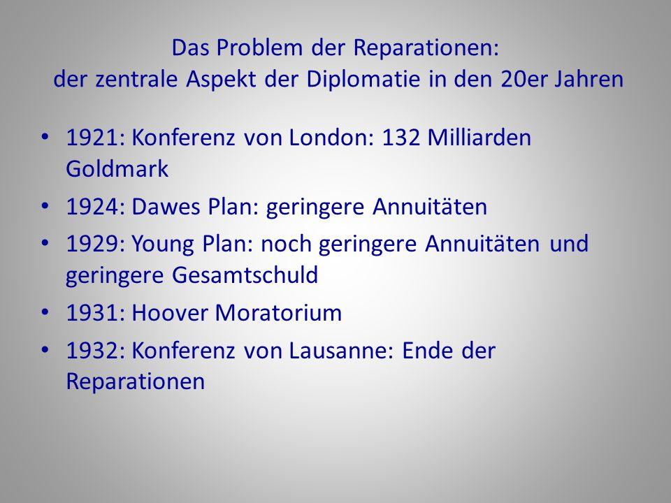 Das Problem der Reparationen: der zentrale Aspekt der Diplomatie in den 20er Jahren 1921: Konferenz von London: 132 Milliarden Goldmark 1924: Dawes Pl