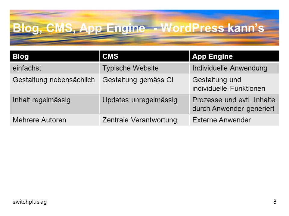 Blog, CMS, App Engine - WordPress kanns BlogCMSApp Engine einfachstTypische WebsiteIndividuelle Anwendung Gestaltung nebensächlichGestaltung gemäss CI