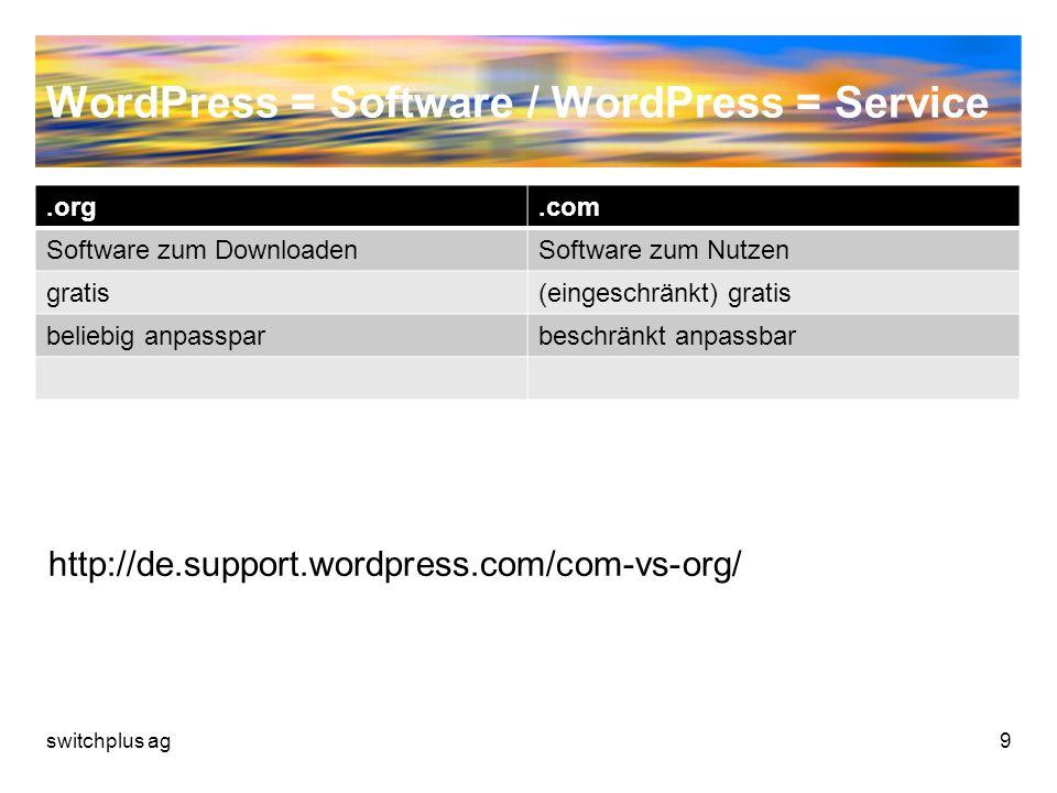 WordPress = Software / WordPress = Service.org.com Software zum DownloadenSoftware zum Nutzen gratis(eingeschränkt) gratis beliebig anpassparbeschränk