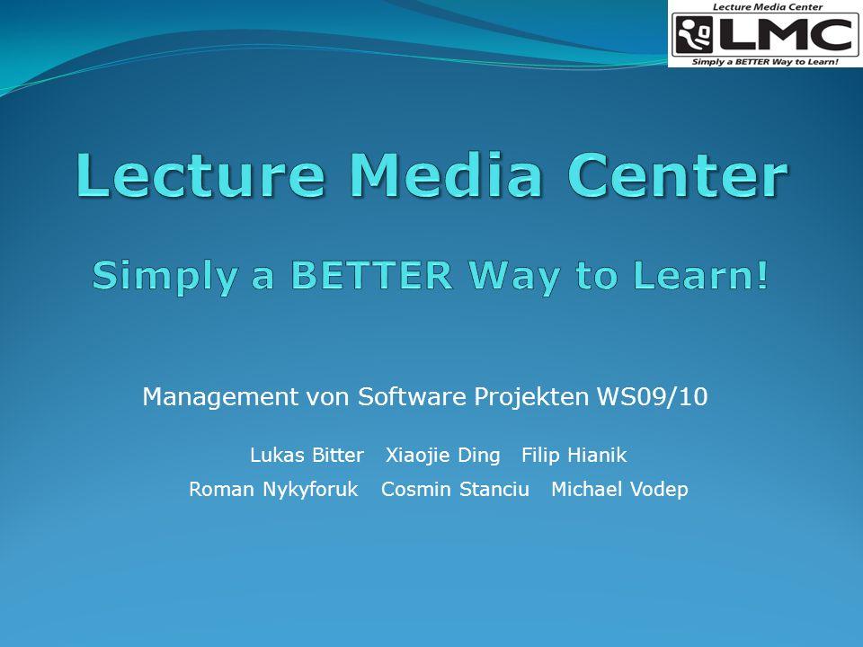 Überblick Lecture Media Center Nutzung Projektplan Risikenminimieren Zusammenfassung