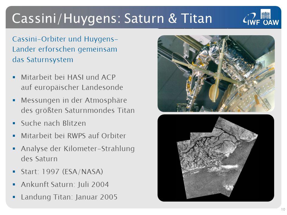 Cassini/Huygens: Saturn & Titan Cassini-Orbiter und Huygens- Lander erforschen gemeinsam das Saturnsystem Mitarbeit bei HASI und ACP auf europäischer