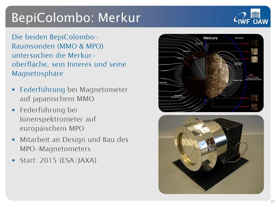 BepiColombo: Merkur Die beiden BepiColombo- Raumsonden (MMO & MPO) untersuchen die Merkur- oberfläche, sein Inneres und seine Magnetosphäre Federführu