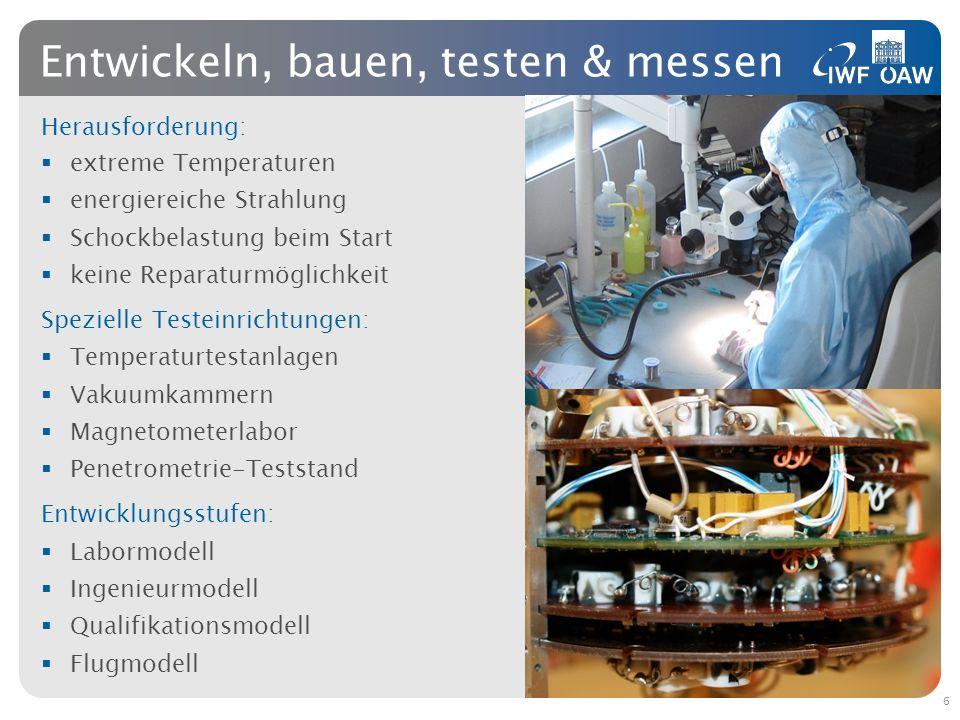 Herausforderung: extreme Temperaturen energiereiche Strahlung Schockbelastung beim Start keine Reparaturmöglichkeit Spezielle Testeinrichtungen: Tempe