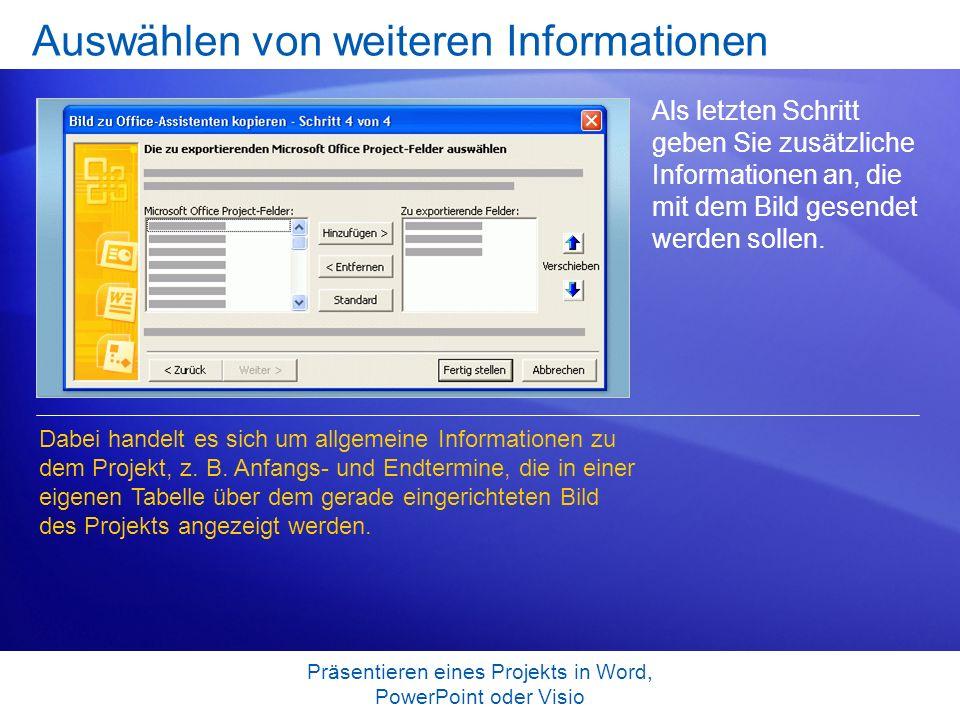 Präsentieren eines Projekts in Word, PowerPoint oder Visio Auswählen von weiteren Informationen Als letzten Schritt geben Sie zusätzliche Informatione