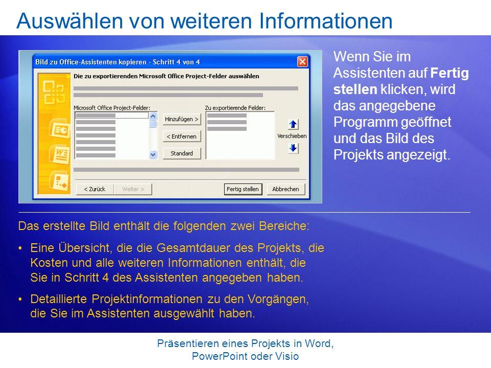 Präsentieren eines Projekts in Word, PowerPoint oder Visio Auswählen von weiteren Informationen Wenn Sie im Assistenten auf Fertig stellen klicken, wi
