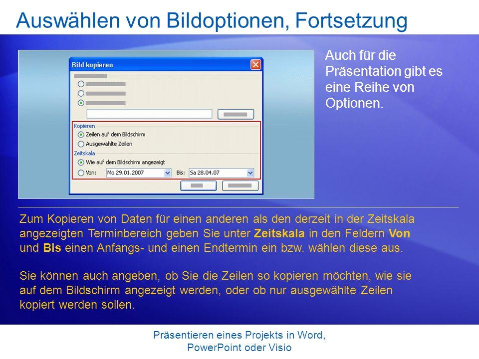 Präsentieren eines Projekts in Word, PowerPoint oder Visio Auswählen von Bildoptionen, Fortsetzung Auch für die Präsentation gibt es eine Reihe von Op