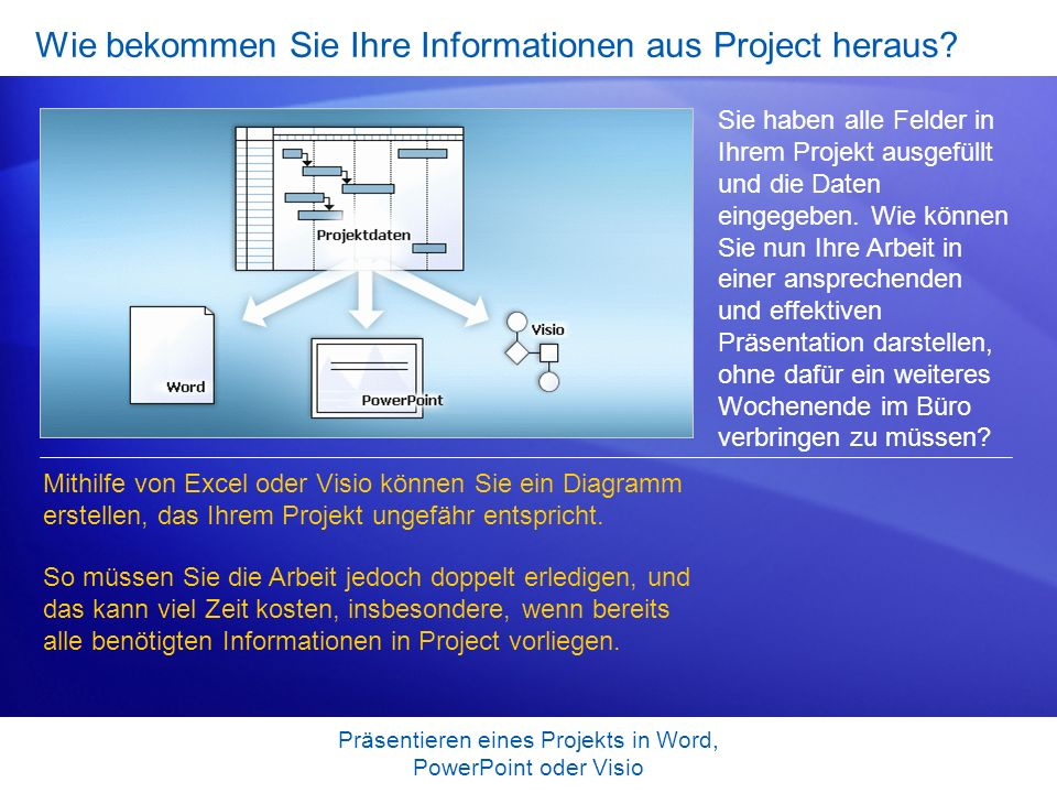 Präsentieren eines Projekts in Word, PowerPoint oder Visio Kopieren von Project-Informationen auf eine Webseite Verfügt Ihre Organisation oder Ihr Team bereits über eine Website, auf der Informationen zu gemeinsamen Projekten bereitgestellt werden.