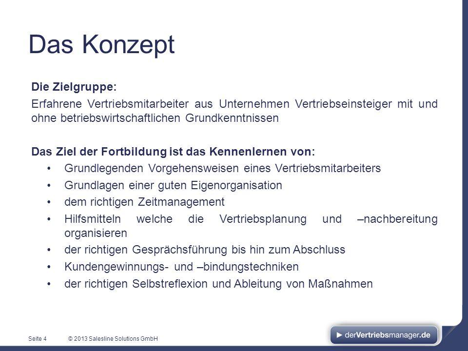 © 2013 Salesline Solutions GmbH Das Konzept Die Zielgruppe: Erfahrene Vertriebsmitarbeiter aus Unternehmen Vertriebseinsteiger mit und ohne betriebswi