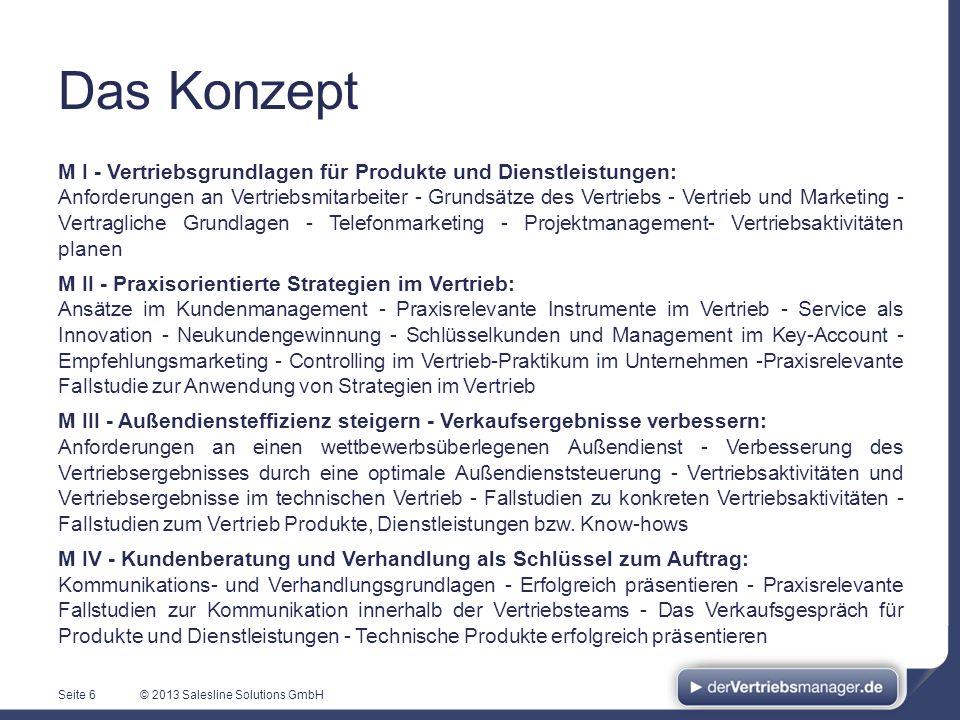 © 2013 Salesline Solutions GmbH M I - Vertriebsgrundlagen für Produkte und Dienstleistungen: Anforderungen an Vertriebsmitarbeiter - Grundsätze des Ve