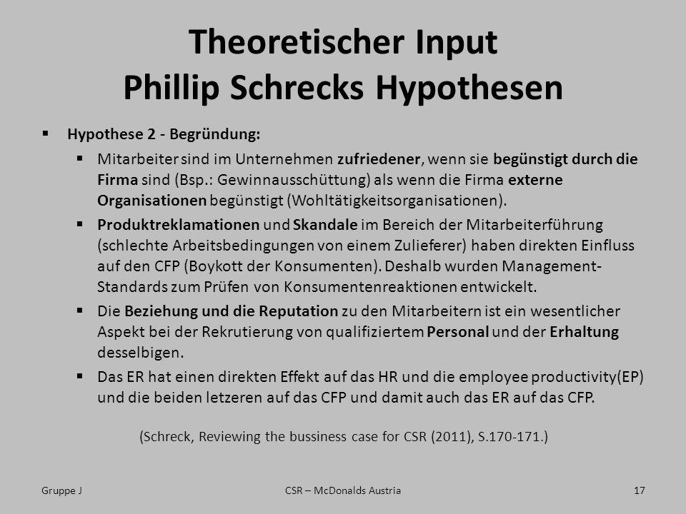 Theoretischer Input Phillip Schrecks Hypothesen Hypothese 2 - Begründung: Mitarbeiter sind im Unternehmen zufriedener, wenn sie begünstigt durch die Firma sind (Bsp.: Gewinnausschüttung) als wenn die Firma externe Organisationen begünstigt (Wohltätigkeitsorganisationen).
