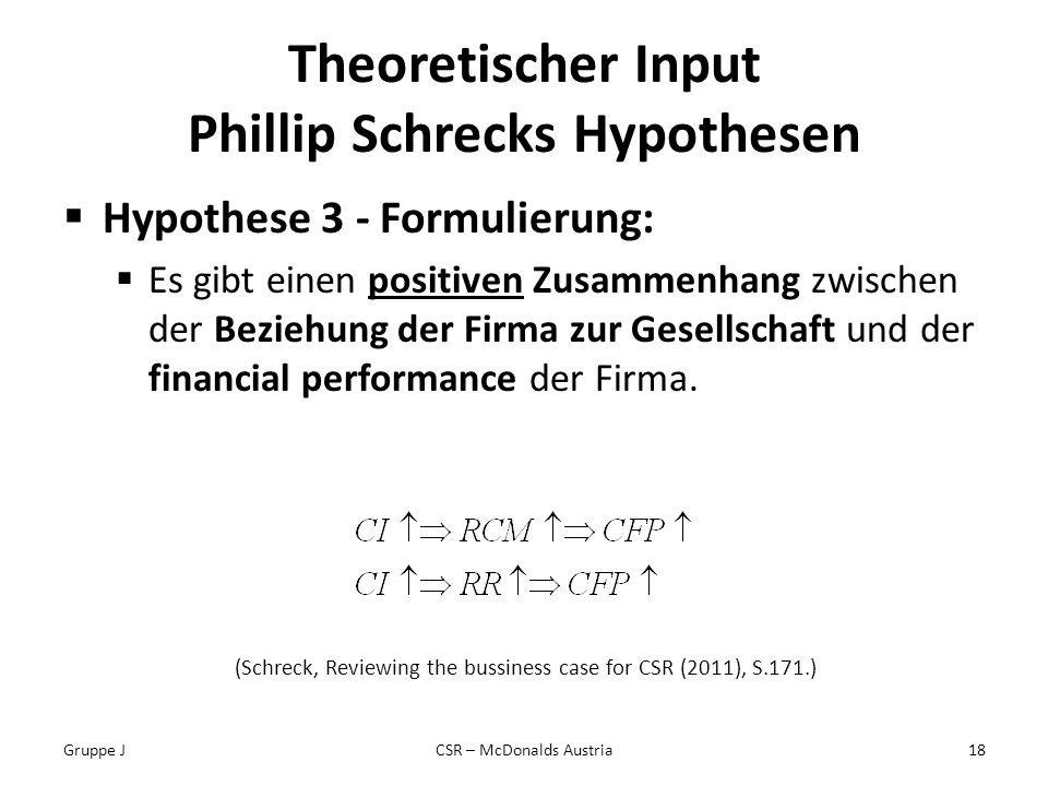 Theoretischer Input Phillip Schrecks Hypothesen Hypothese 3 - Formulierung: Es gibt einen positiven Zusammenhang zwischen der Beziehung der Firma zur Gesellschaft und der financial performance der Firma.