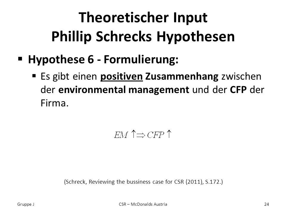 Theoretischer Input Phillip Schrecks Hypothesen Hypothese 6 - Formulierung: Es gibt einen positiven Zusammenhang zwischen der environmental management und der CFP der Firma.