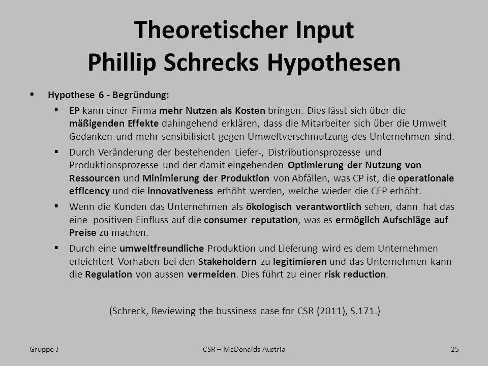 Theoretischer Input Phillip Schrecks Hypothesen Hypothese 6 - Begründung: EP kann einer Firma mehr Nutzen als Kosten bringen. Dies lässt sich über die