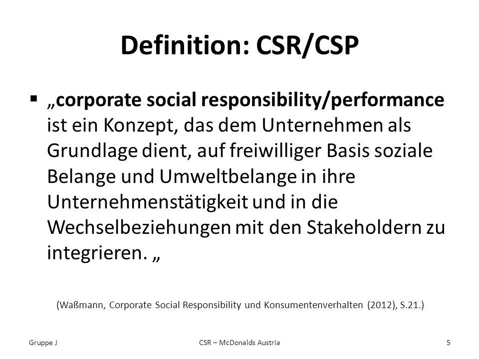 Definition: CSR/CSP corporate social responsibility/performance ist ein Konzept, das dem Unternehmen als Grundlage dient, auf freiwilliger Basis soziale Belange und Umweltbelange in ihre Unternehmenstätigkeit und in die Wechselbeziehungen mit den Stakeholdern zu integrieren.