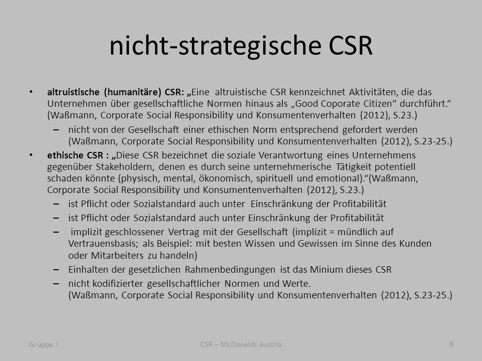 nicht-strategische CSR altruistische (humanitäre) CSR: Eine altruistische CSR kennzeichnet Aktivitäten, die das Unternehmen über gesellschaftliche Normen hinaus als Good Coporate Citizen durchführt.