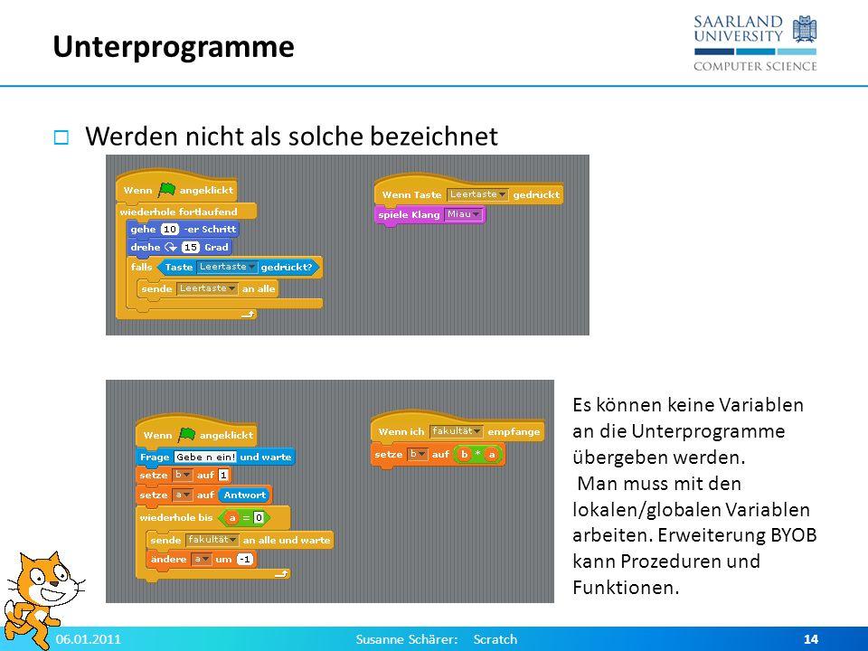 Unterprogramme Werden nicht als solche bezeichnet 06.01.2011Susanne Schärer: Scratch14 Es können keine Variablen an die Unterprogramme übergeben werde