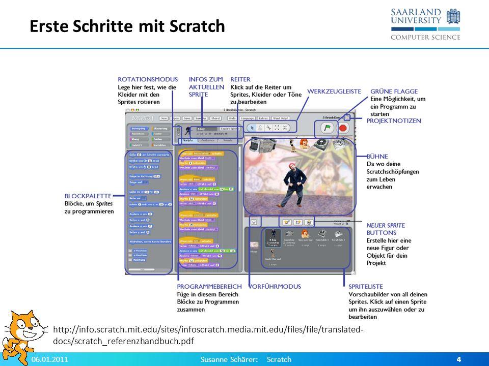 Erste Schritte mit Scratch 06.01.2011Susanne Schärer: Scratch4 http://info.scratch.mit.edu/sites/infoscratch.media.mit.edu/files/file/translated- docs