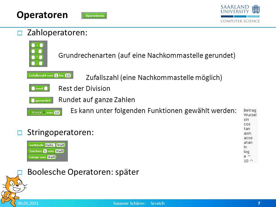 Literatur http://scratch.mit.edu/ http://info.scratch.mit.edu/sites/infoscratch.media.mit.edu/fil es/file/translated-docs/scratch_referenzhandbuch.pdf http://info.scratch.mit.edu/sites/infoscratch.media.mit.edu/fil es/file/translated-docs/scratch_referenzhandbuch.pdf http://digitale-schule-bayern.de/dsdaten/285/51.pdf 06.01.2011Susanne Schärer: Scratch18