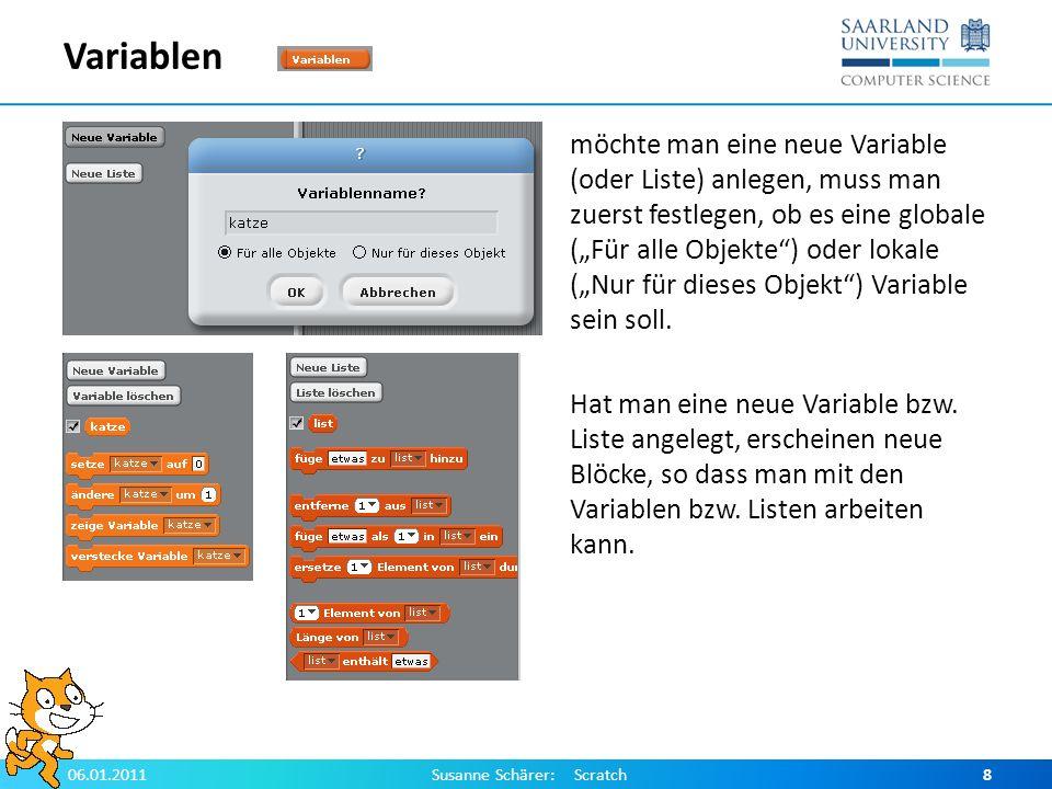 Anzeigen von Variablen und Listen Wenn ein Haken bei einer Variablen bzw.