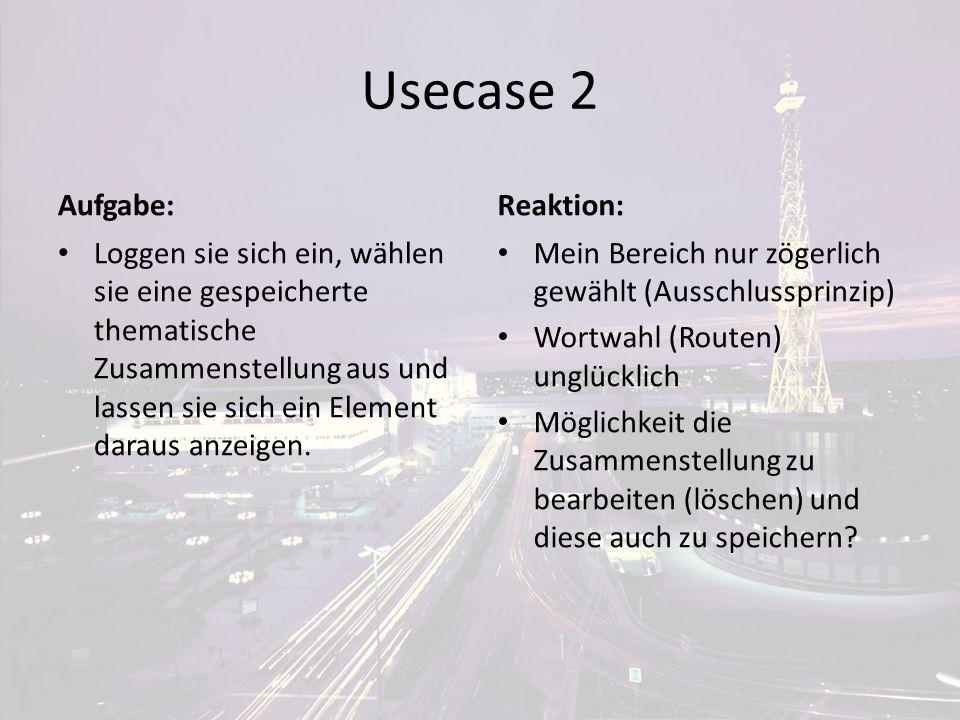 Usecase 2 Aufgabe: Loggen sie sich ein, wählen sie eine gespeicherte thematische Zusammenstellung aus und lassen sie sich ein Element daraus anzeigen.