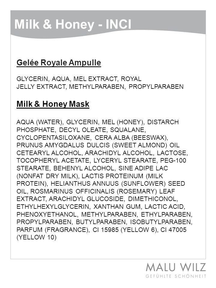 Milk & Honey - INCI Gelée Royale Ampulle GLYCERIN, AQUA, MEL EXTRACT, ROYAL JELLY EXTRACT, METHYLPARABEN, PROPYLPARABEN Milk & Honey Mask AQUA (WATER)