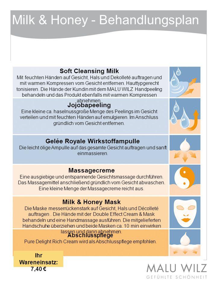 Milk & Honey - Behandlungsplan Soft Cleansing Milk Mit feuchten Händen auf Gesicht, Hals und Dekolleté auftragen und mit warmen Kompressen vom Gesicht