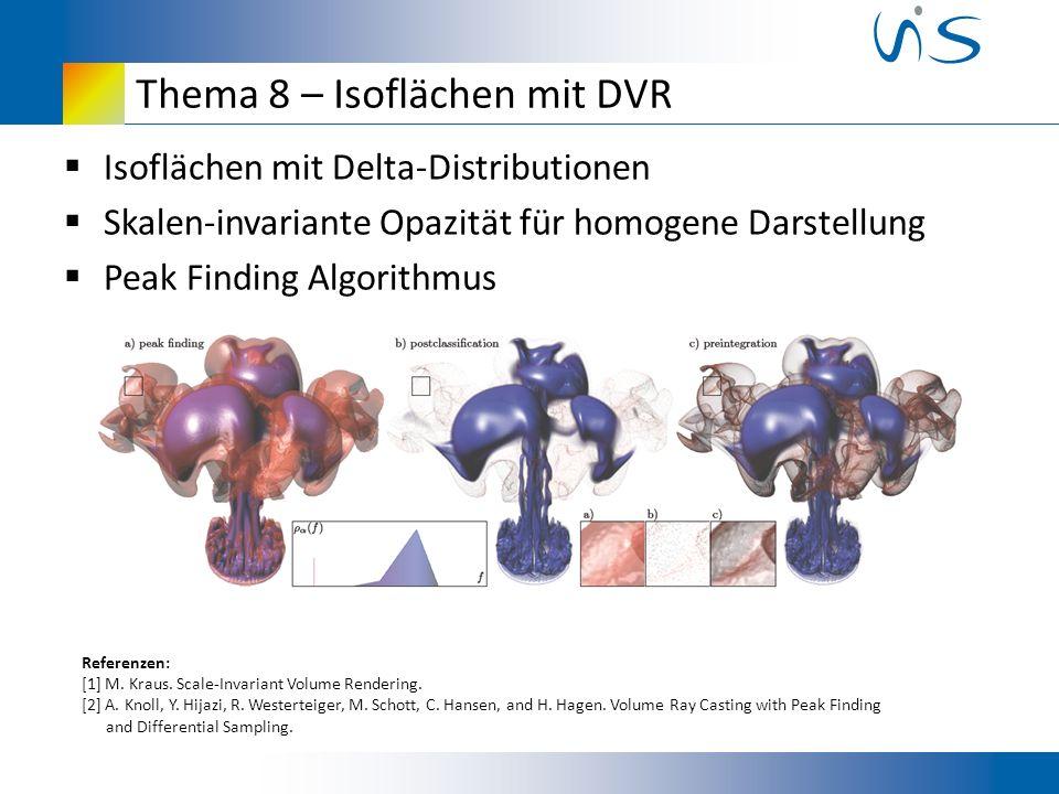 Thema 8 – Isoflächen mit DVR Isoflächen mit Delta-Distributionen Skalen-invariante Opazität für homogene Darstellung Peak Finding Algorithmus Referenzen: [1] M.