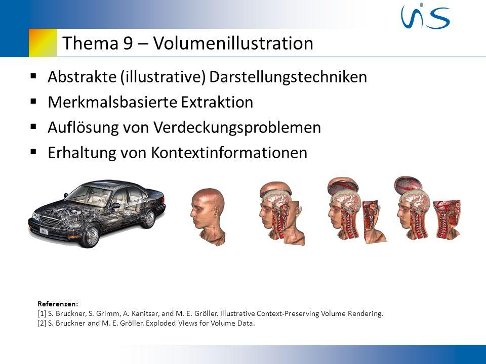 Thema 9 – Volumenillustration Abstrakte (illustrative) Darstellungstechniken Merkmalsbasierte Extraktion Auflösung von Verdeckungsproblemen Erhaltung von Kontextinformationen Referenzen: [1] S.