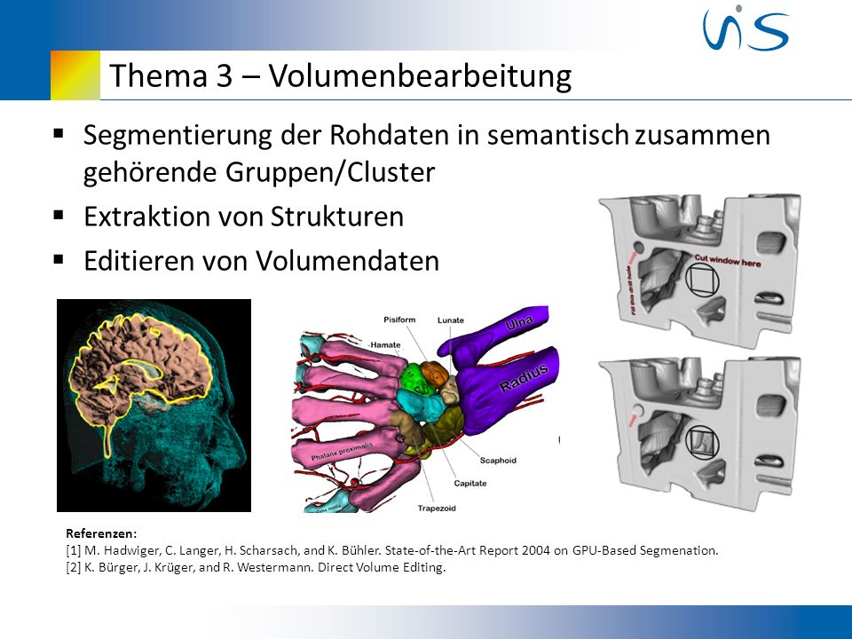 Thema 3 – Volumenbearbeitung Segmentierung der Rohdaten in semantisch zusammen gehörende Gruppen/Cluster Extraktion von Strukturen Editieren von Volumendaten Referenzen: [1] M.