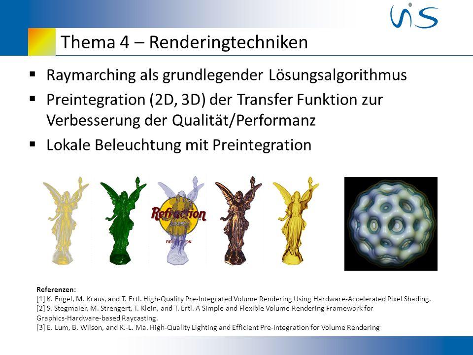 Thema 4 – Renderingtechniken Raymarching als grundlegender Lösungsalgorithmus Preintegration (2D, 3D) der Transfer Funktion zur Verbesserung der Qualität/Performanz Lokale Beleuchtung mit Preintegration Referenzen: [1] K.
