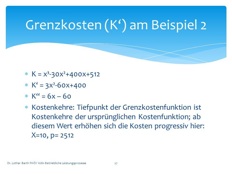 K = x³-30x²+400x+512 K = 3x²-60x+400 K = 6x – 60 Kostenkehre: Tiefpunkt der Grenzkostenfunktion ist Kostenkehre der ursprünglichen Kostenfunktion; ab