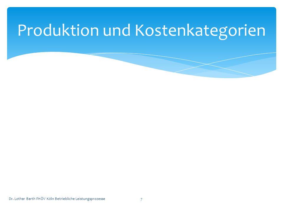 Def.: Kombination von Produktionsfaktoren zur Erstellung von Leistungen (Güter oder Dienstleistungen) Refa-Techniken Reengeneering Ziel: Kostenminimierung in der Produktion Produktion Dr.
