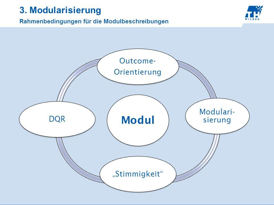 3. Modularisierung Rahmenbedingungen für die Modulbeschreibungen Modul Outcome- Orientierung Modulari- sierung StimmigkeitDQR