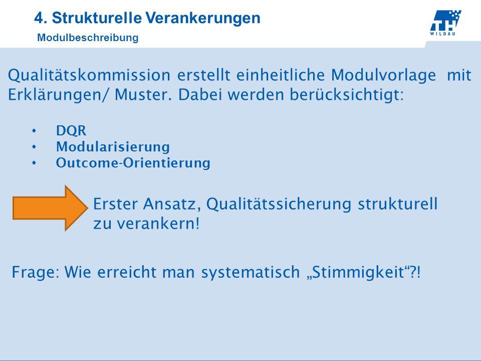 4. Strukturelle Verankerungen Modulbeschreibung Qualitätskommission erstellt einheitliche Modulvorlage mit Erklärungen/ Muster. Dabei werden berücksic