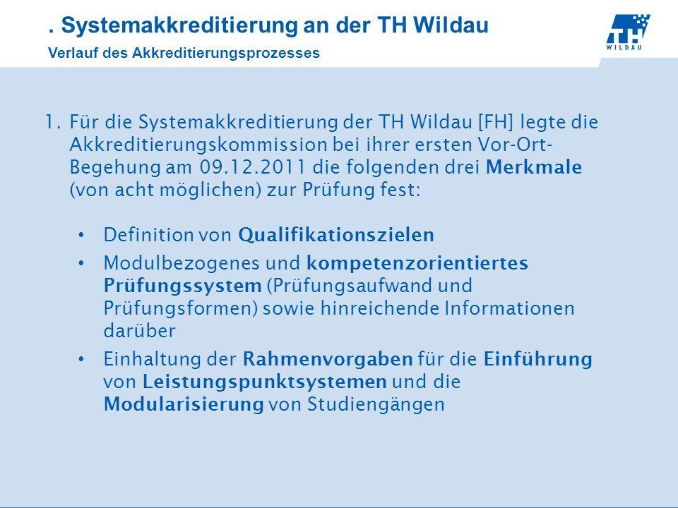 . Systemakkreditierung an der TH Wildau Verlauf des Akkreditierungsprozesses 1.Für die Systemakkreditierung der TH Wildau [FH] legte die Akkreditierun