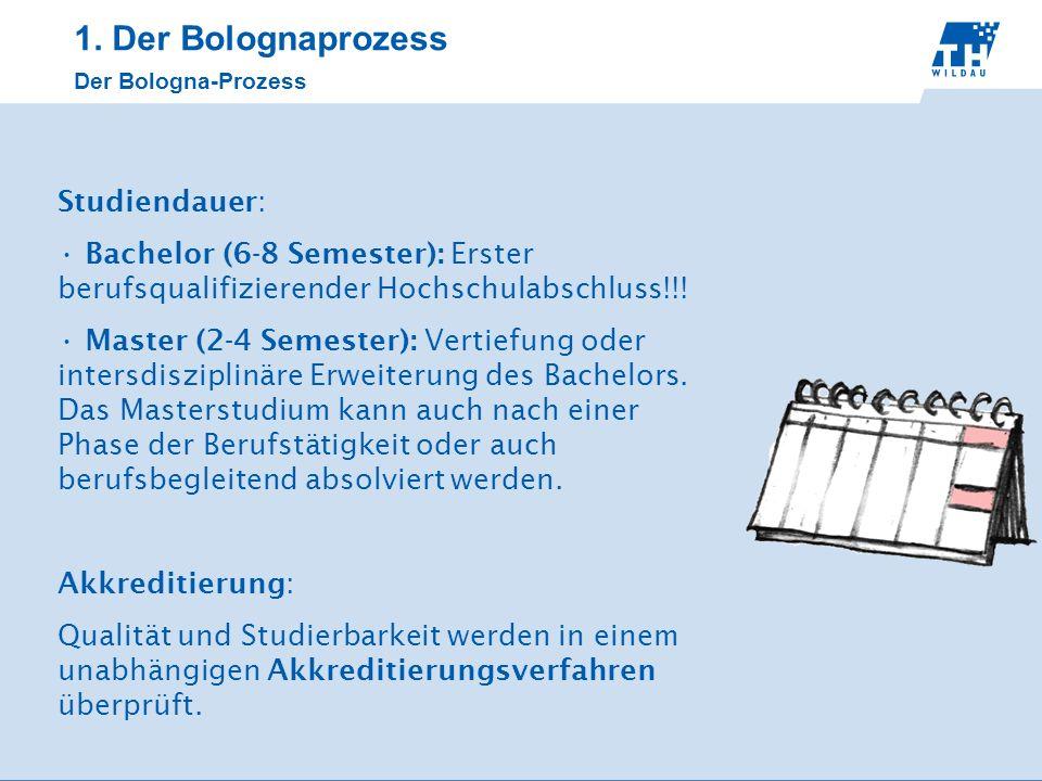 Studiendauer: Bachelor (6-8 Semester): Erster berufsqualifizierender Hochschulabschluss!!! Master (2-4 Semester): Vertiefung oder intersdisziplinäre E