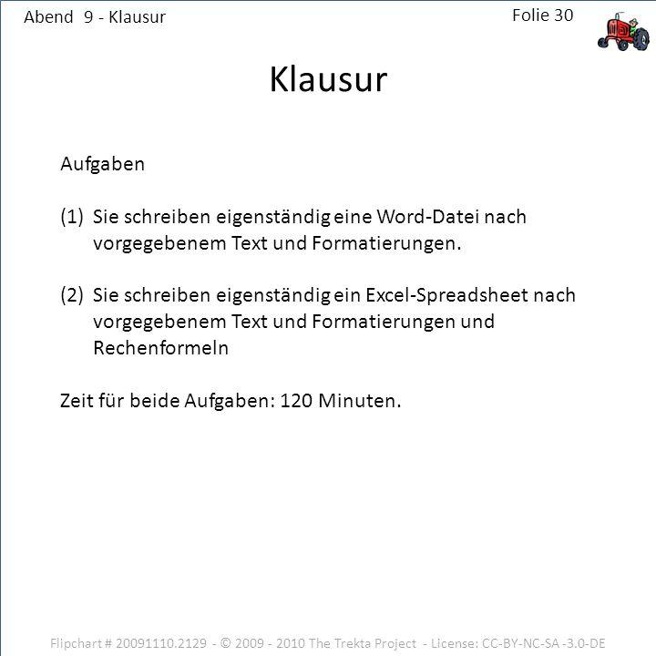 Abend 9 - Klausur Flipchart # 20091110.2129 - © 2009 - 2010 The Trekta Project - License: CC-BY-NC-SA -3.0-DE Aufgaben (1)Sie schreiben eigenständig eine Word-Datei nach vorgegebenem Text und Formatierungen.