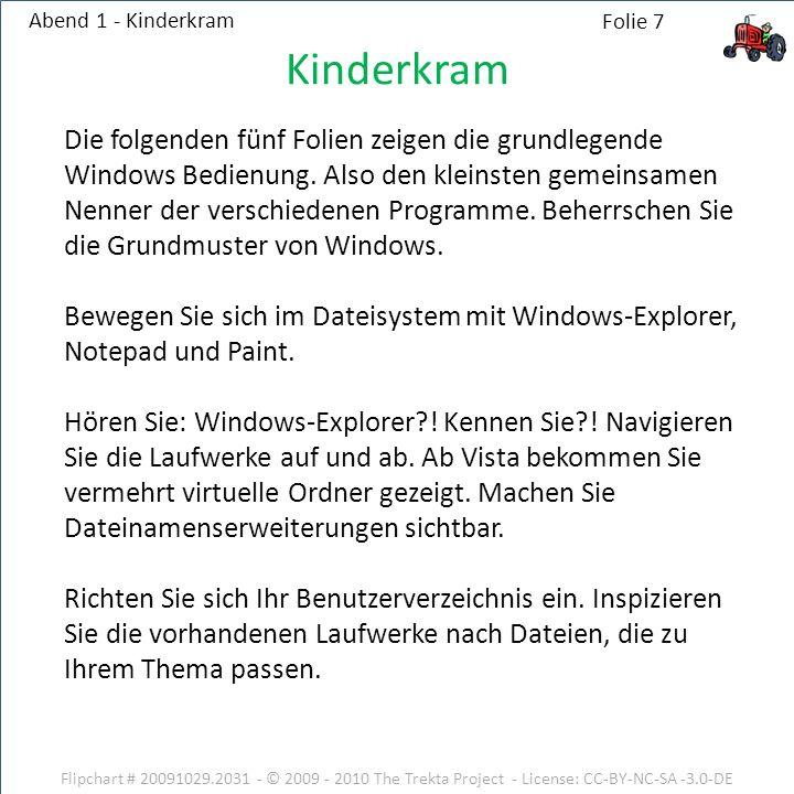 Flipchart # 20091029.2031 - © 2009 - 2010 The Trekta Project - License: CC-BY-NC-SA -3.0-DE Abend 1 - Kinderkram Die folgenden fünf Folien zeigen die grundlegende Windows Bedienung.