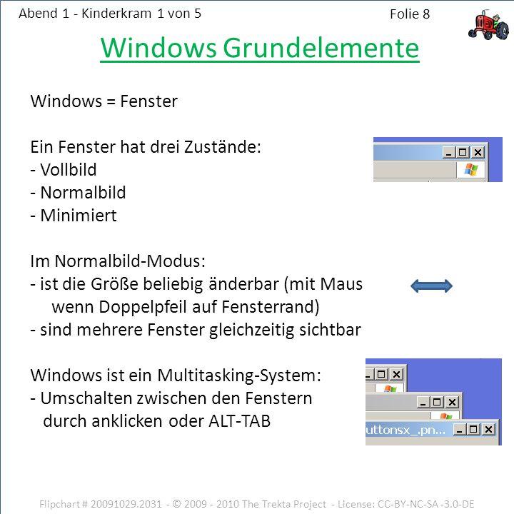 Windows Grundelemente Windows = Fenster Ein Fenster hat drei Zustände: - Vollbild - Normalbild - Minimiert Im Normalbild-Modus: - ist die Größe beliebig änderbar (mit Maus wenn Doppelpfeil auf Fensterrand) - sind mehrere Fenster gleichzeitig sichtbar Windows ist ein Multitasking-System: - Umschalten zwischen den Fenstern durch anklicken oder ALT-TAB Flipchart # 20091029.2031 - © 2009 - 2010 The Trekta Project - License: CC-BY-NC-SA -3.0-DE Abend 1 - Kinderkram 1 von 5 Folie 8