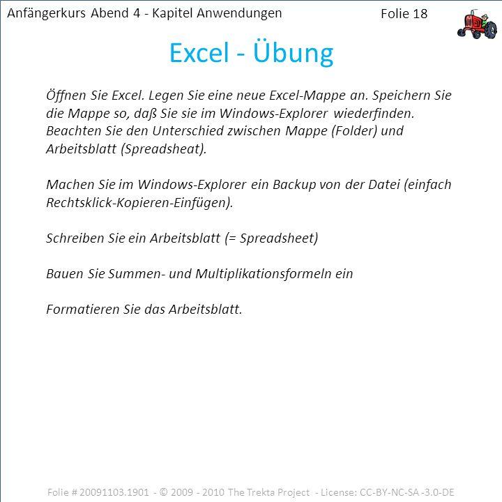 Folie # 20091103.1901 - © 2009 - 2010 The Trekta Project - License: CC-BY-NC-SA -3.0-DE Folie 18 Öffnen Sie Excel. Legen Sie eine neue Excel-Mappe an.