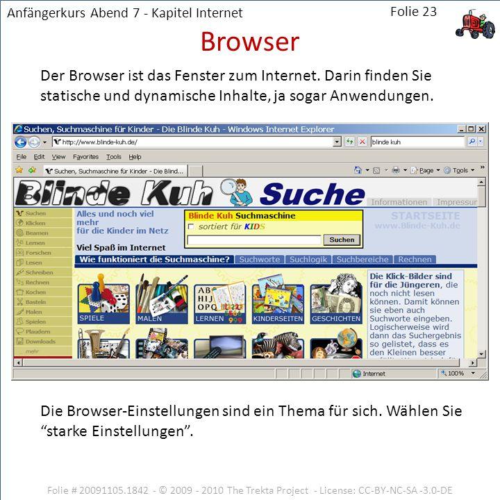 Folie # 20091105.1842 - © 2009 - 2010 The Trekta Project - License: CC-BY-NC-SA -3.0-DE Der Browser ist das Fenster zum Internet. Darin finden Sie sta