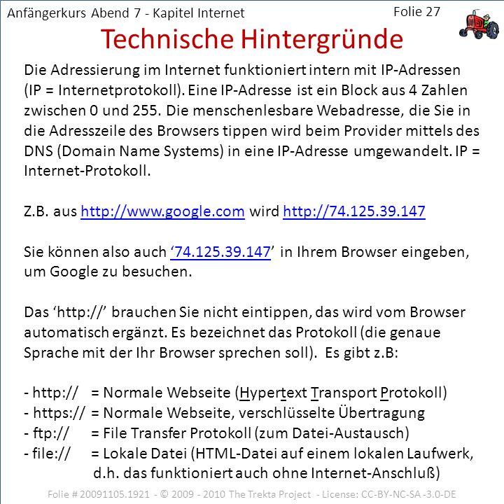 Die Adressierung im Internet funktioniert intern mit IP-Adressen (IP = Internetprotokoll). Eine IP-Adresse ist ein Block aus 4 Zahlen zwischen 0 und 2