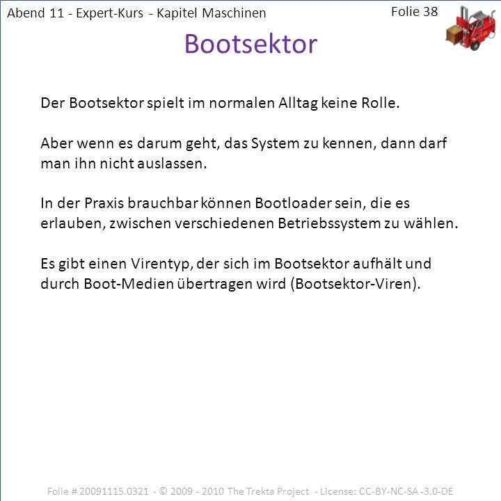 Folie # 20091115.0321 - © 2009 - 2010 The Trekta Project - License: CC-BY-NC-SA -3.0-DE Der Bootsektor spielt im normalen Alltag keine Rolle. Aber wen