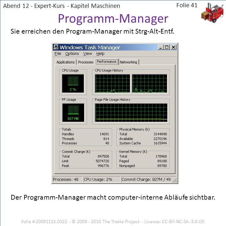 Folie # 20091115.0322 - © 2009 - 2010 The Trekta Project - License: CC-BY-NC-SA -3.0-DE Sie erreichen den Program-Manager mit Strg-Alt-Entf. Der Progr