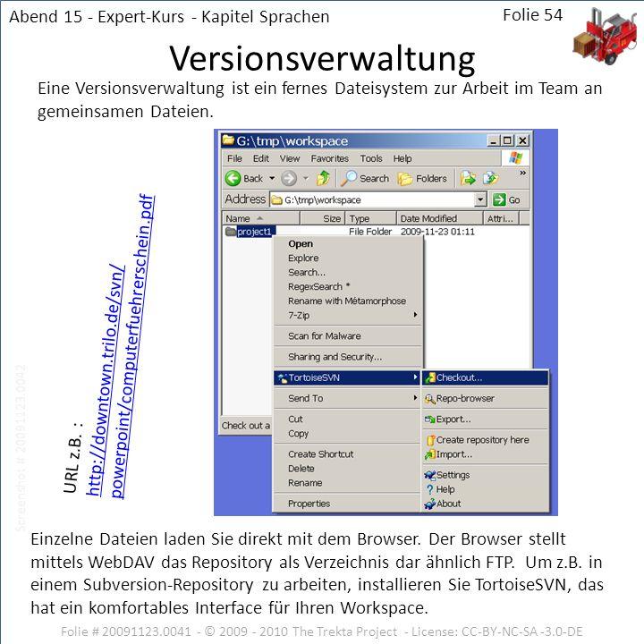 Folie # 20091123.0041 - © 2009 - 2010 The Trekta Project - License: CC-BY-NC-SA -3.0-DE Folie 54 Eine Versionsverwaltung ist ein fernes Dateisystem zu