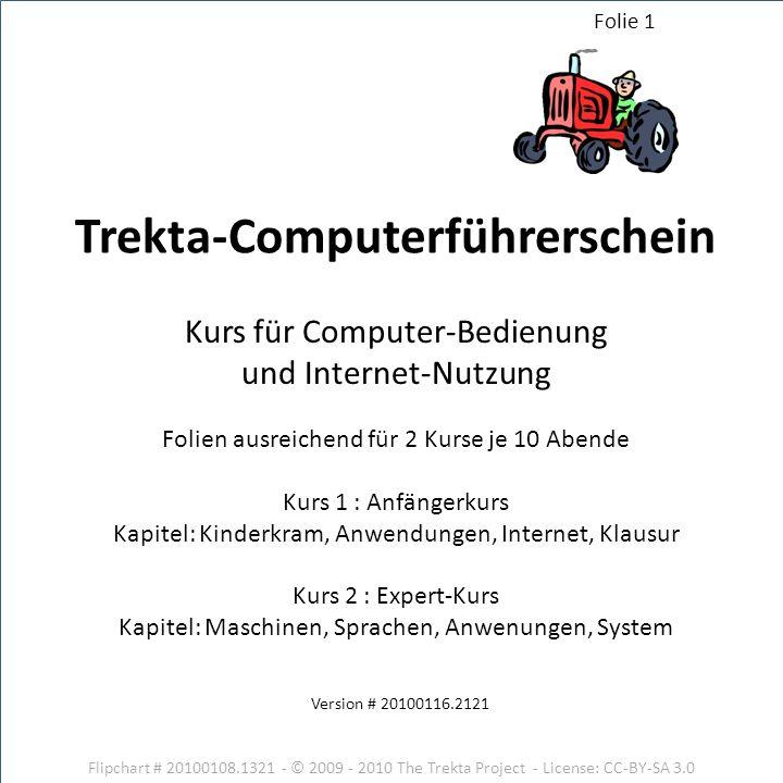 Flipchart # 20100108.1321 - © 2009 - 2010 The Trekta Project - License: CC-BY-SA 3.0 Version # 20100116.2121 Kurs für Computer-Bedienung und Internet-