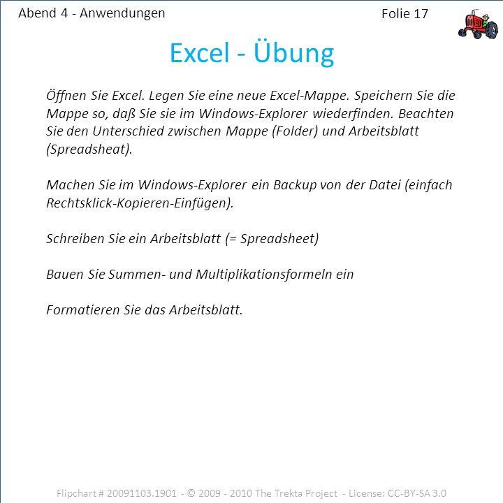 Abend 4 - Anwendungen Flipchart # 20091103.1901 - © 2009 - 2010 The Trekta Project - License: CC-BY-SA 3.0 Folie 17 Öffnen Sie Excel. Legen Sie eine n