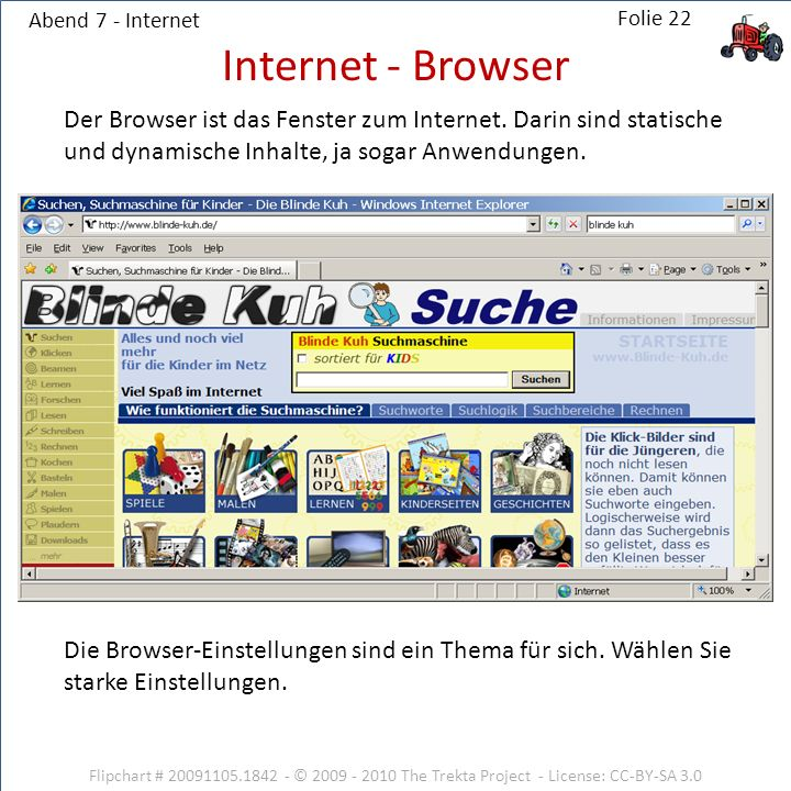 Abend 7 - Internet Flipchart # 20091105.1842 - © 2009 - 2010 The Trekta Project - License: CC-BY-SA 3.0 Der Browser ist das Fenster zum Internet. Dari